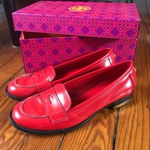 Tory Burch Red Loafer Flats 7 1/2